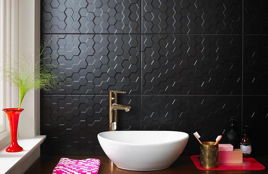 Bathroom Tile Wall Ceramic Plain Function Form Form Hex