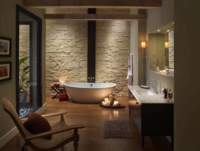 Natural stone wall cladding panel interior CUT COURSE OYSTER
