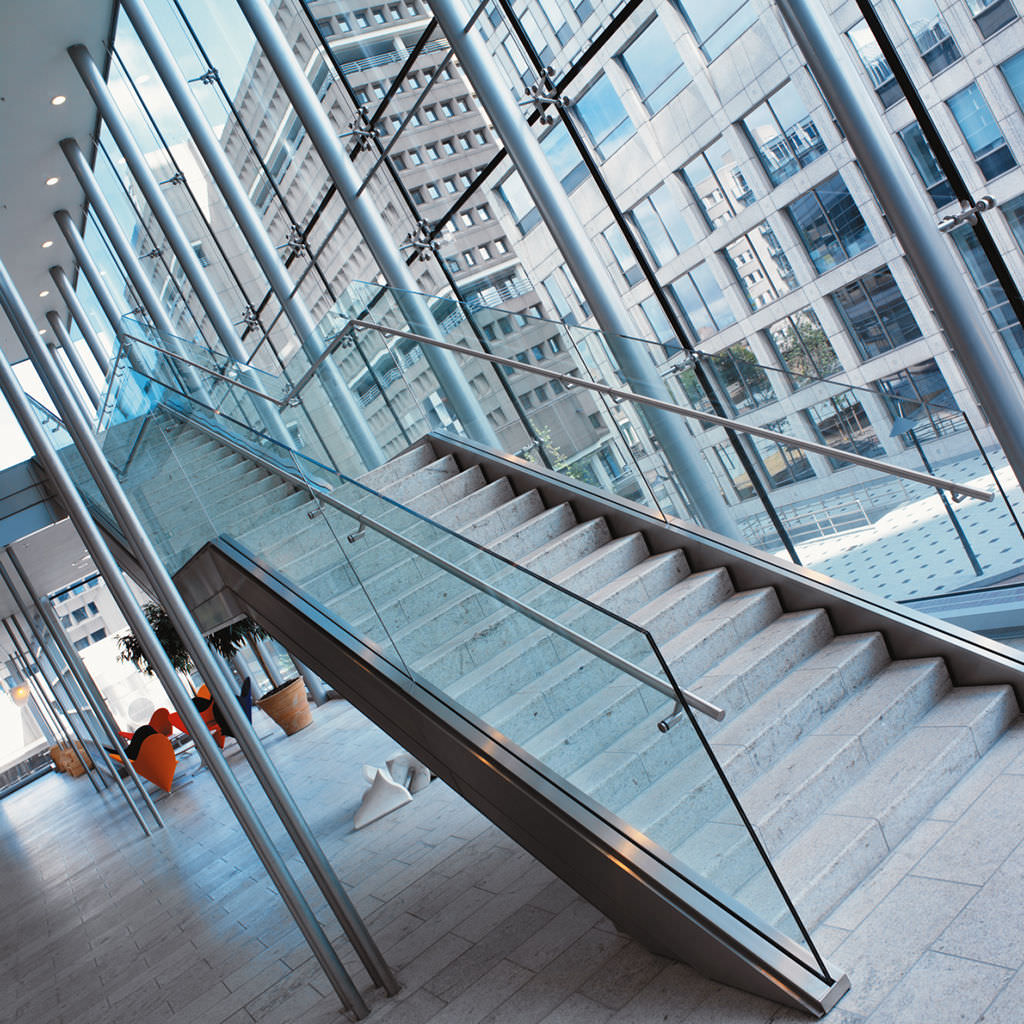 Glass railing / with panels / outdoor / for stairs - D LINE