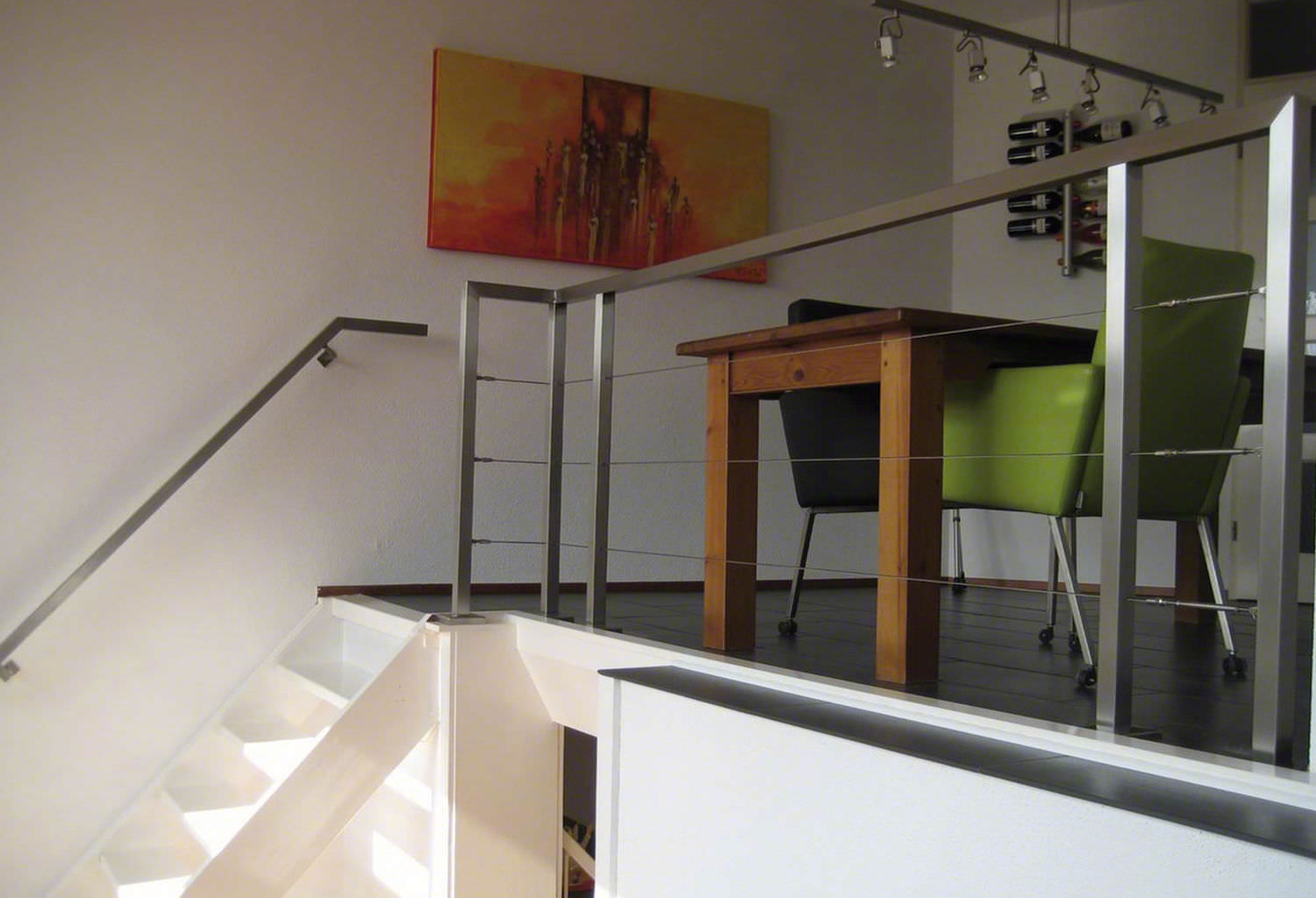 Stainless steel railing / cable / indoor / for stairs - SQUARE LINE