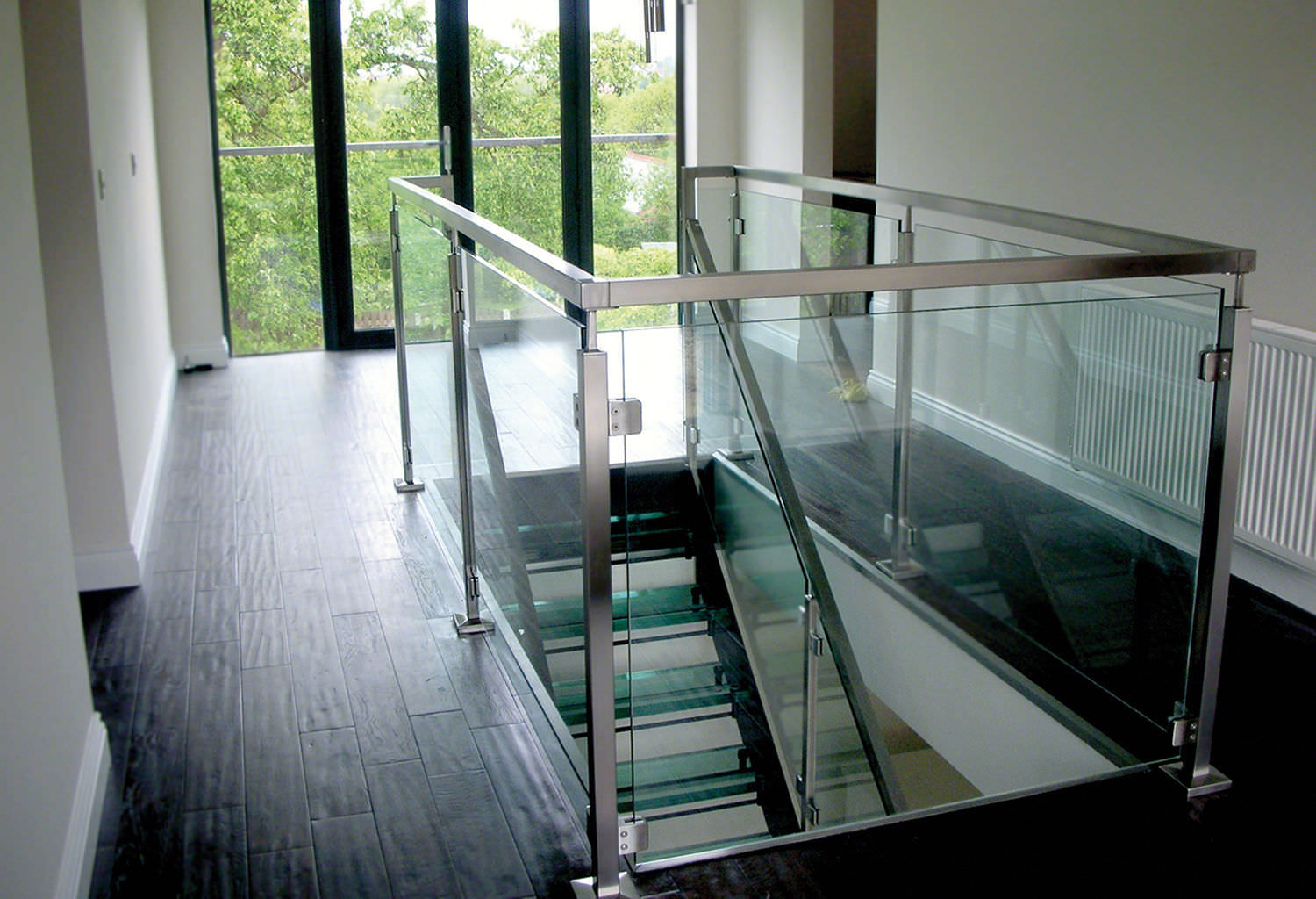 Stainless steel railing / glass panel / indoor / for stairs - SQUARE LINE