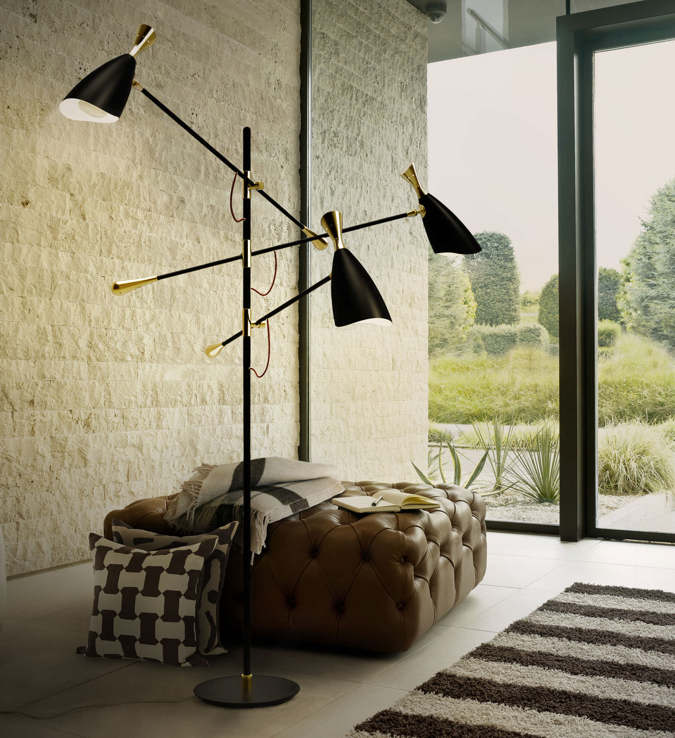 Floor-standing lamp / contemporary / aluminum / brass - DUKE ...