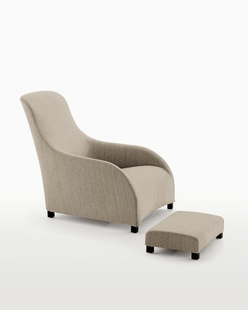 Charmant ... Contemporary Armchair / Leather / With Footrest / Bergere