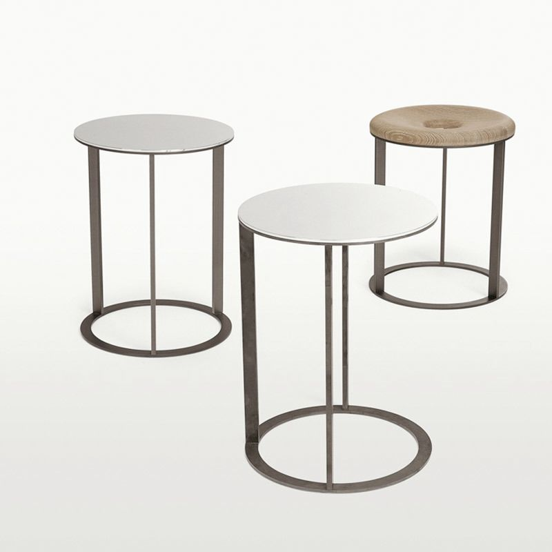Contemporary side table oak round square ELIOS MAXALTO