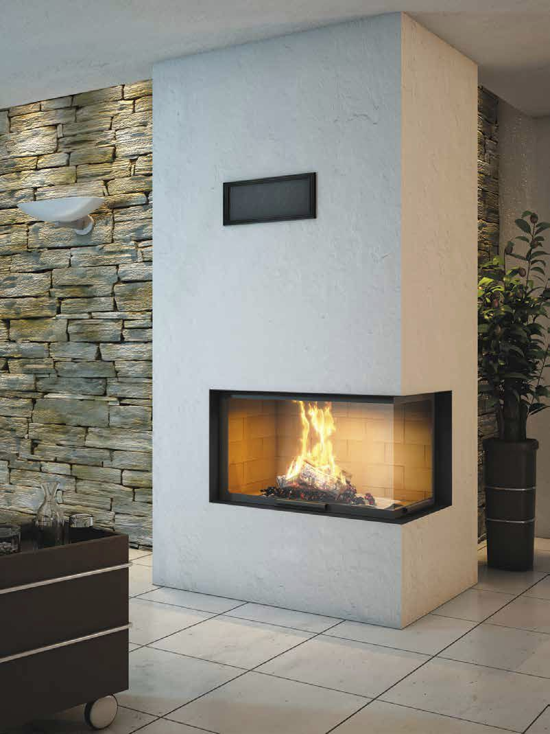 Wood-burning fireplace / contemporary / closed hearth / corner ...