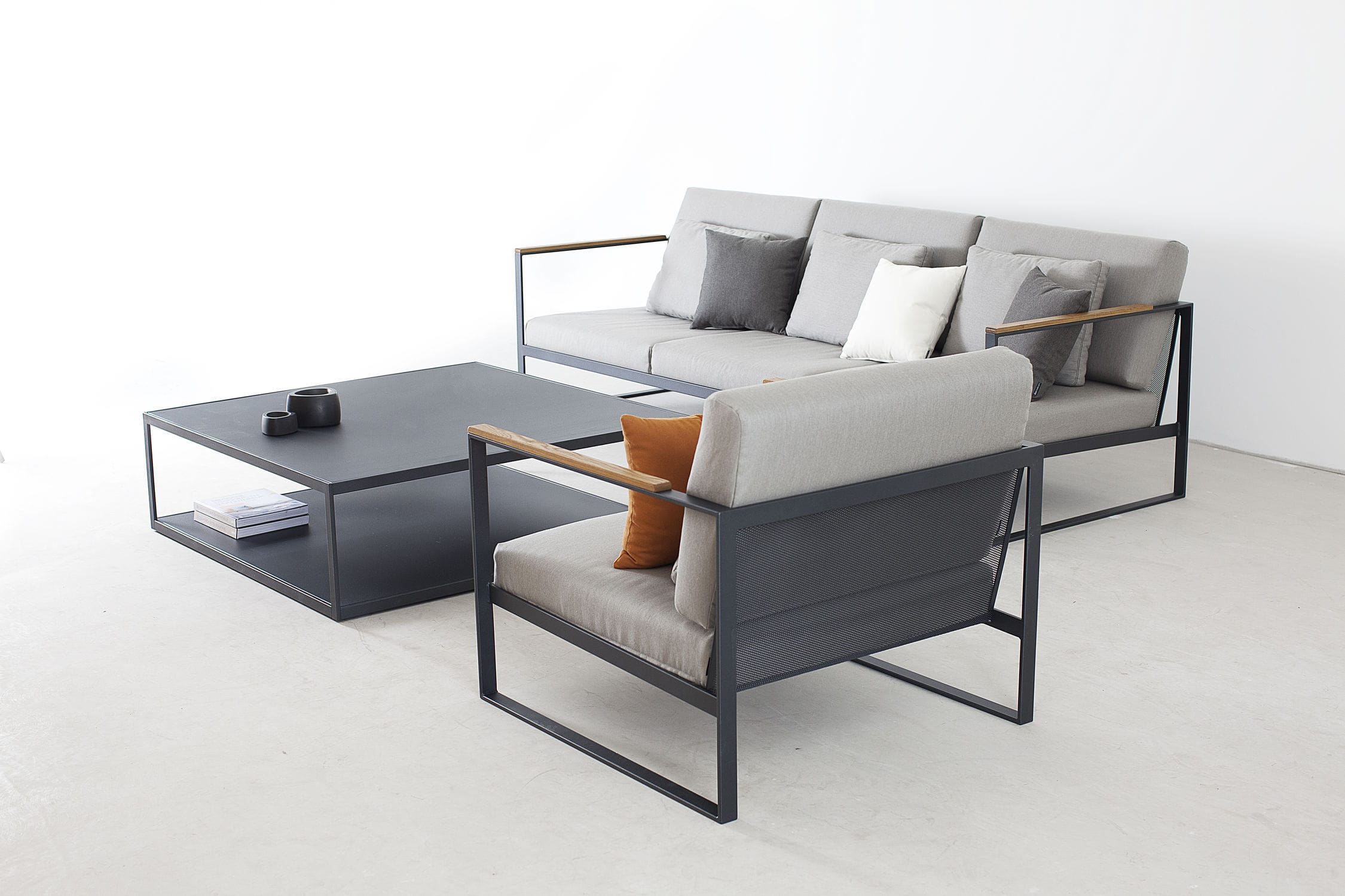 contemporary sofa / garden / teak / stainless steel - garden easy
