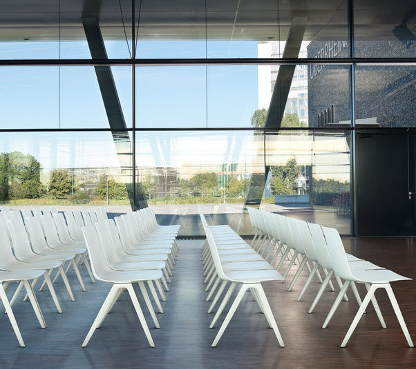 Conference chair with armrests / upholstered / stackable / fabric ...