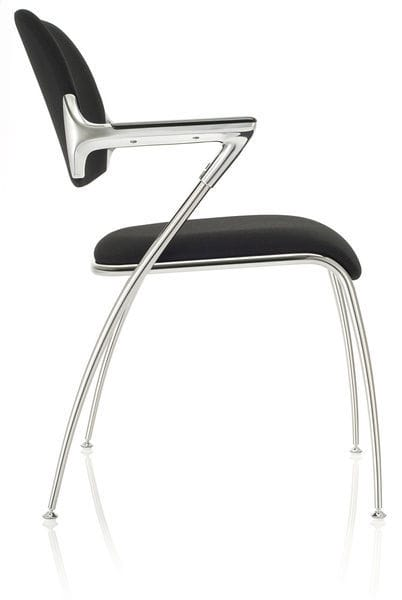 Contemporary visitor chair / with armrests / upholstered / stackable ...