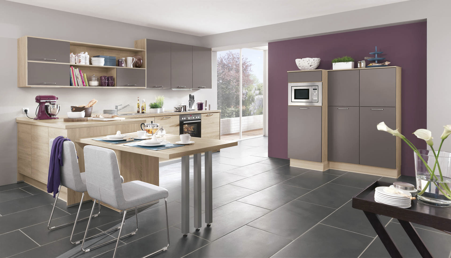 Contemporary Kitchen Wood Veneer Lacquered With Handles