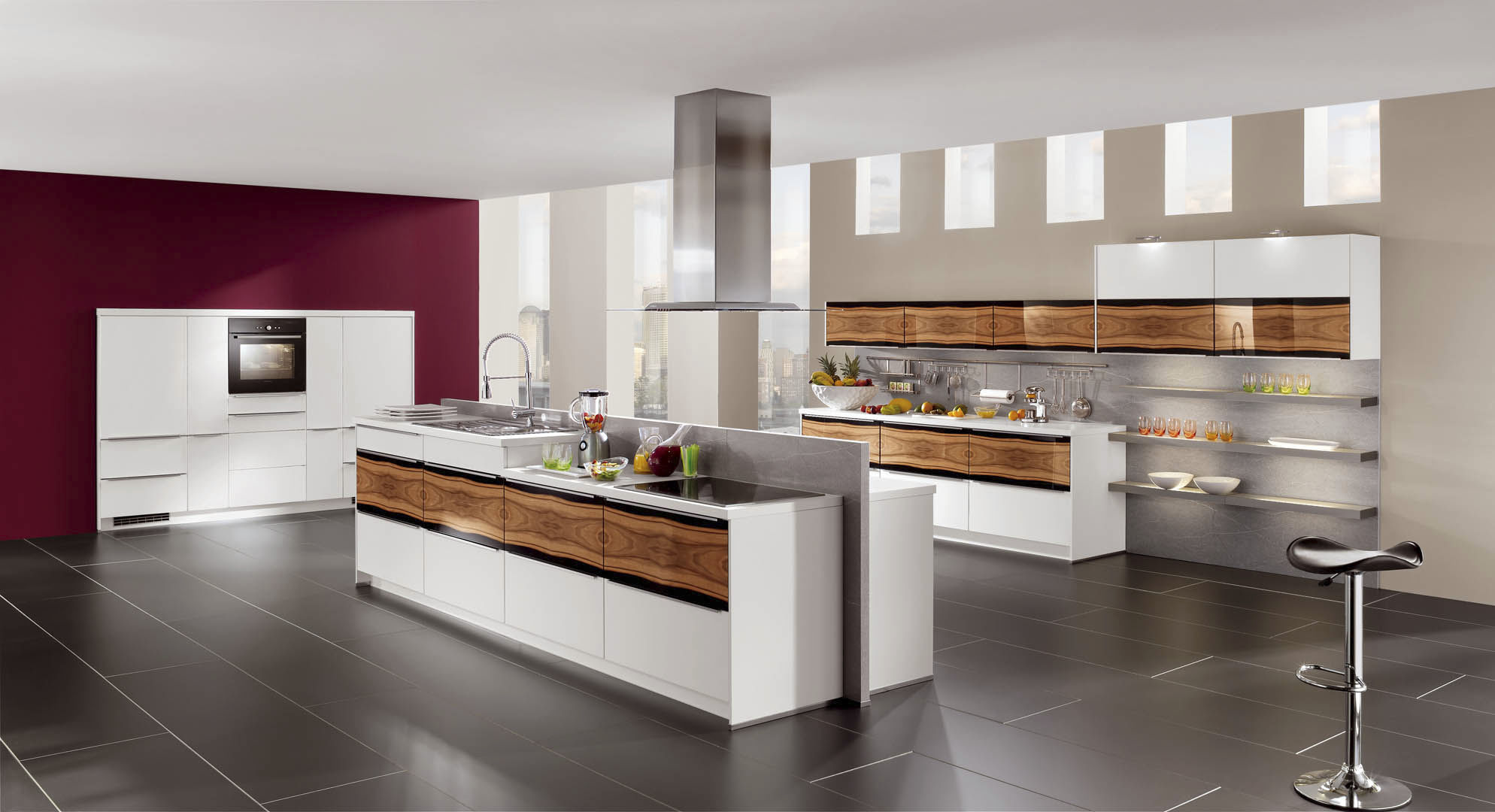 contemporary kitchen wooden island lacquered highlight 745
