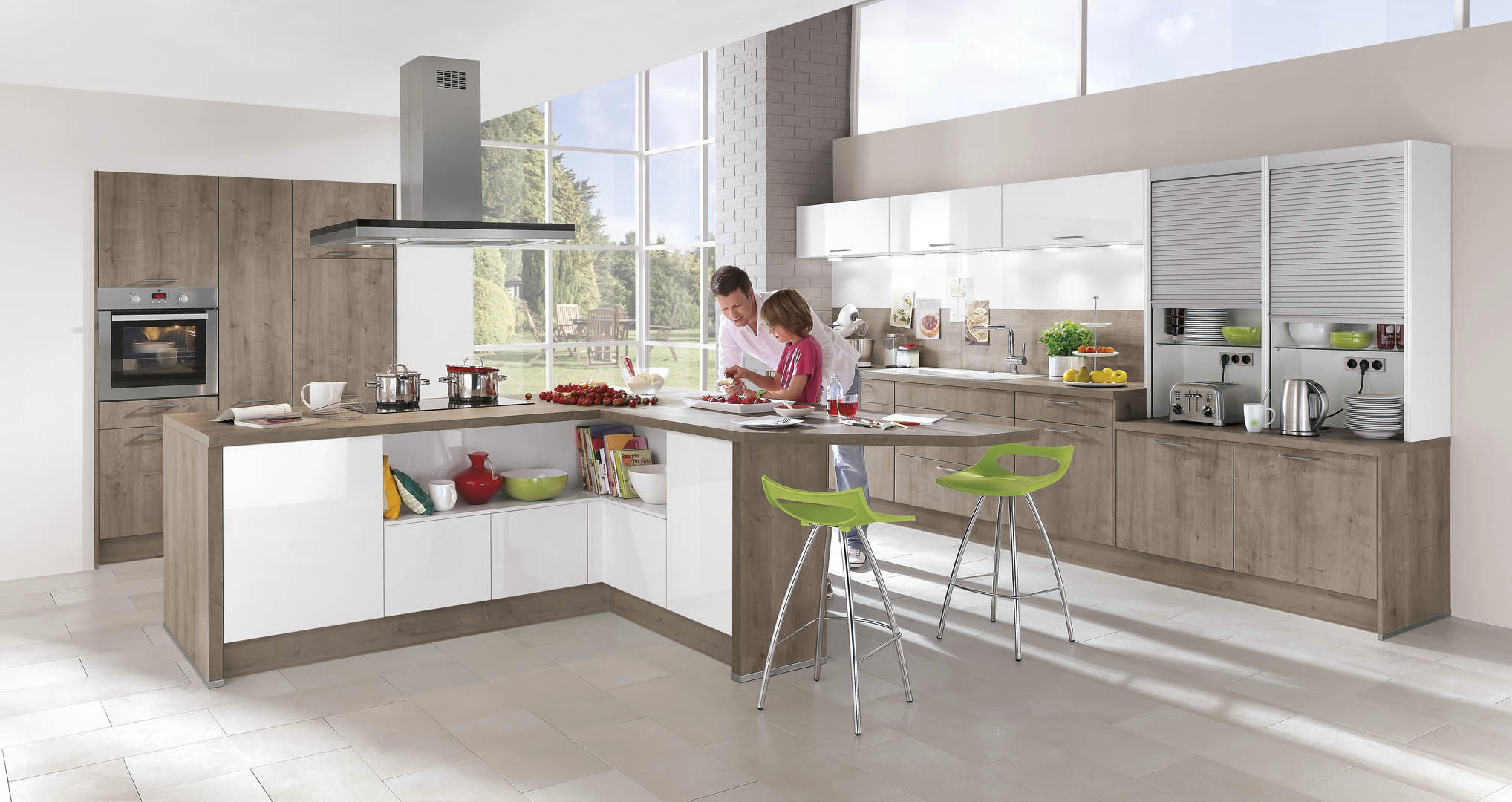 Contemporary Kitchen Wood Veneer Lacquered With Handles Rio