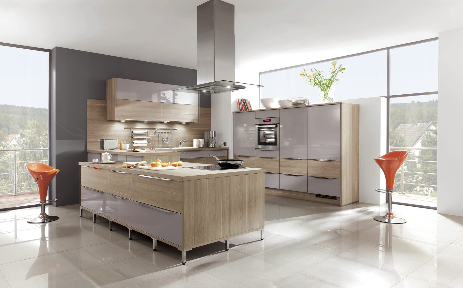 Contemporary Kitchen Wood Veneer Island With Handles Primo