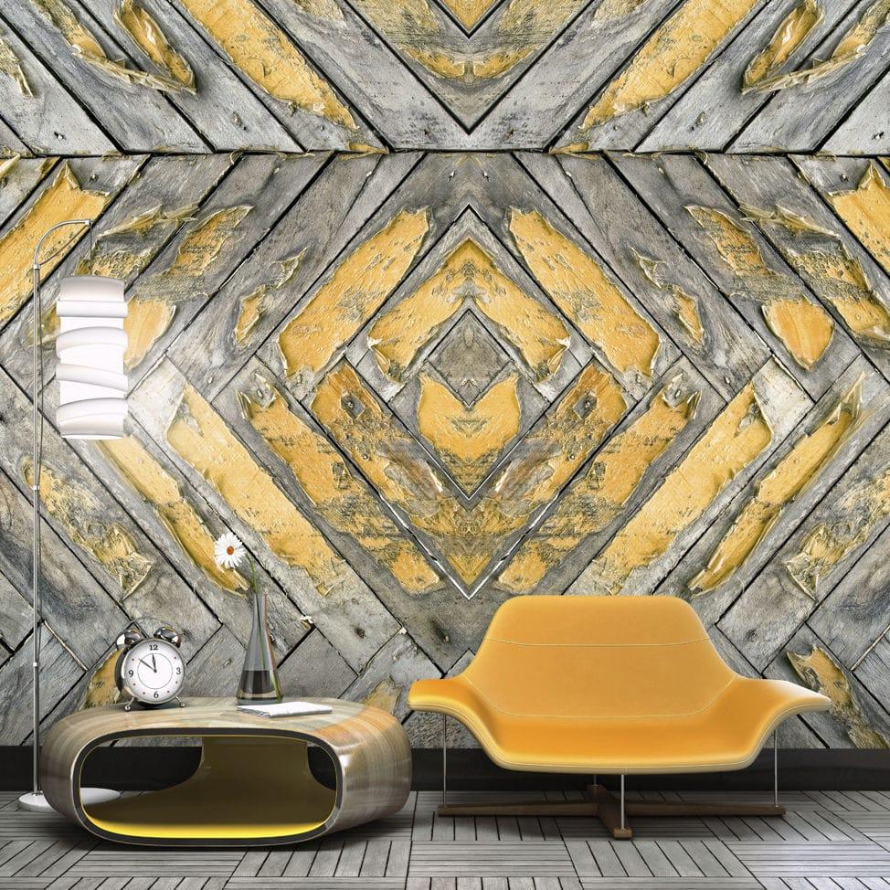 Contemporary Wallpaper Rustic Fabric Geometric