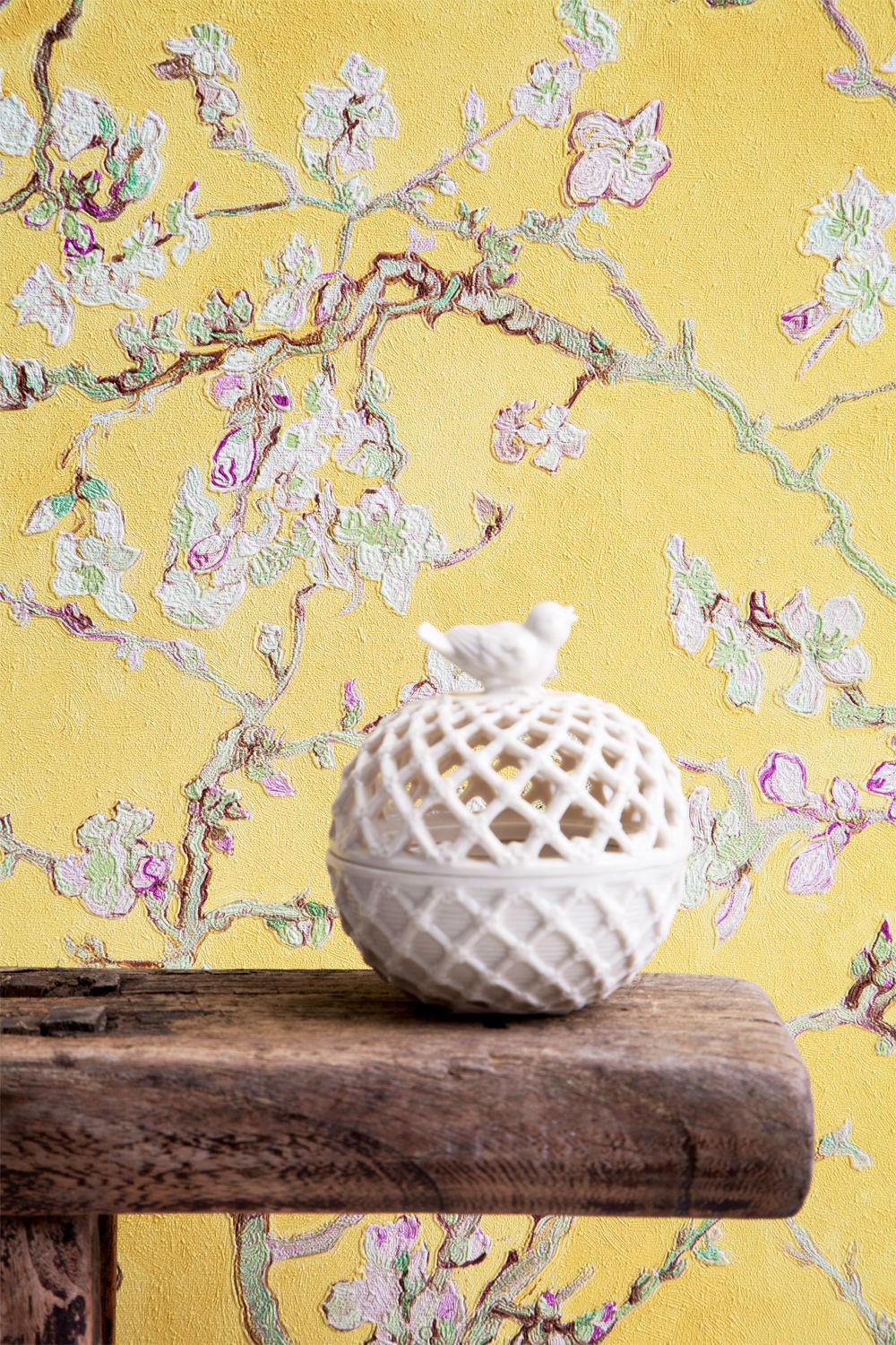 contemporary wallpaper / fabric / floral / chinoiserie - turquiose