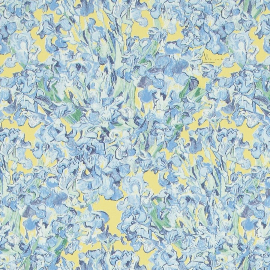 Contemporary Wallpaper Fabric Floral Printed Blue Iris