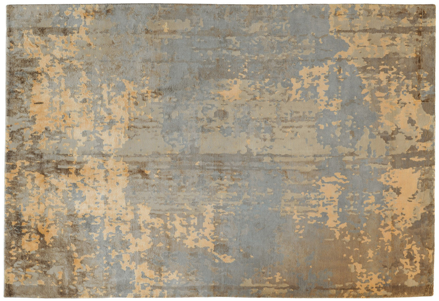 Contemporary Rug Patterned Wool Bamboo Fiber