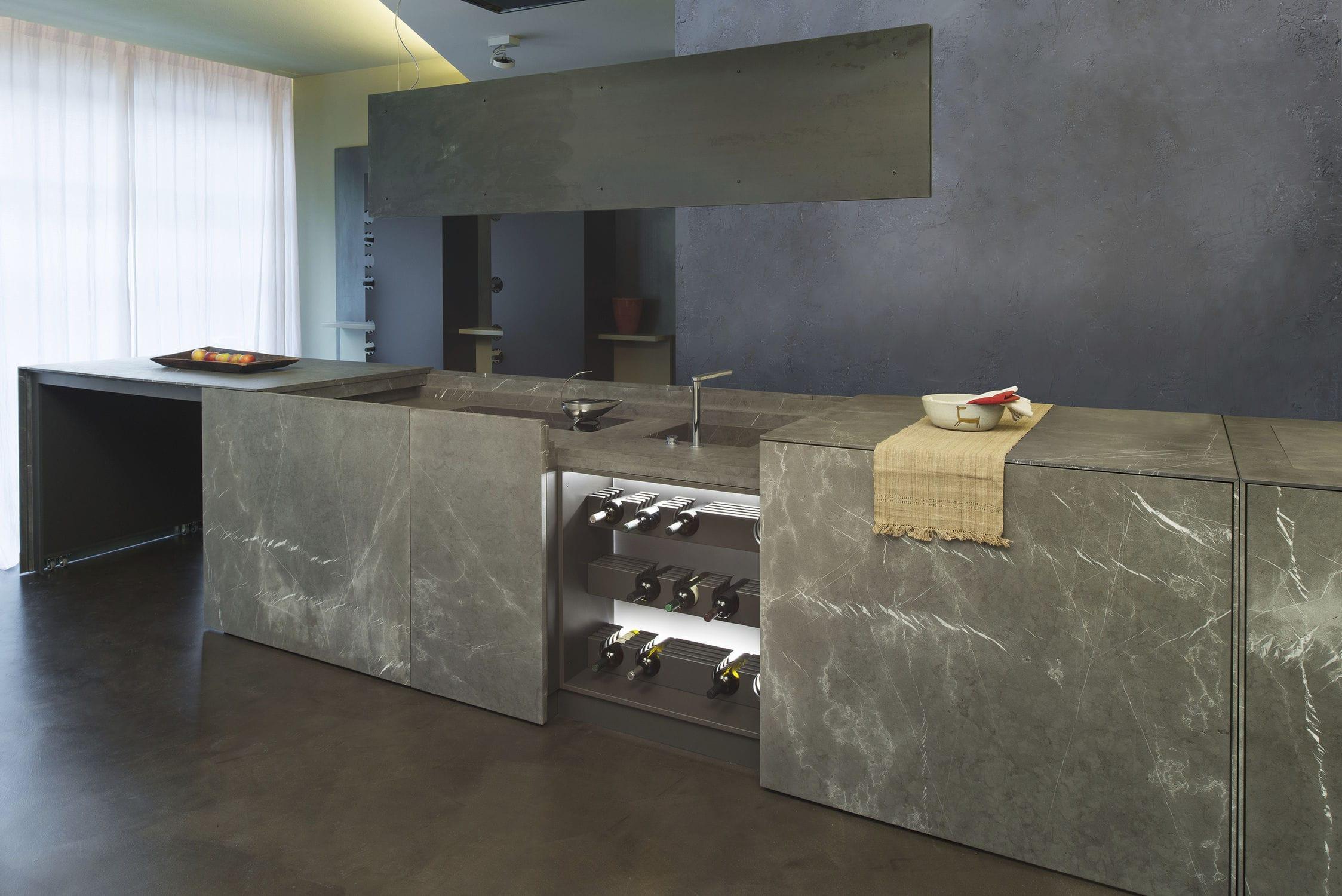 Contemporary kitchen stone island D90 ACCIAIO