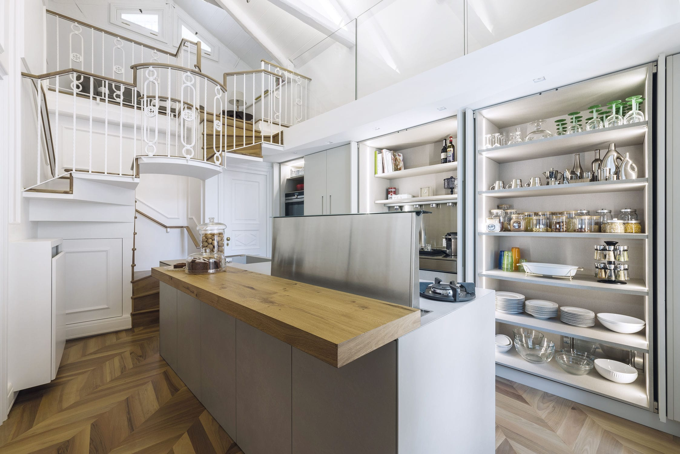 Contemporary kitchen / lacquered wood / porcelain stoneware / island ...