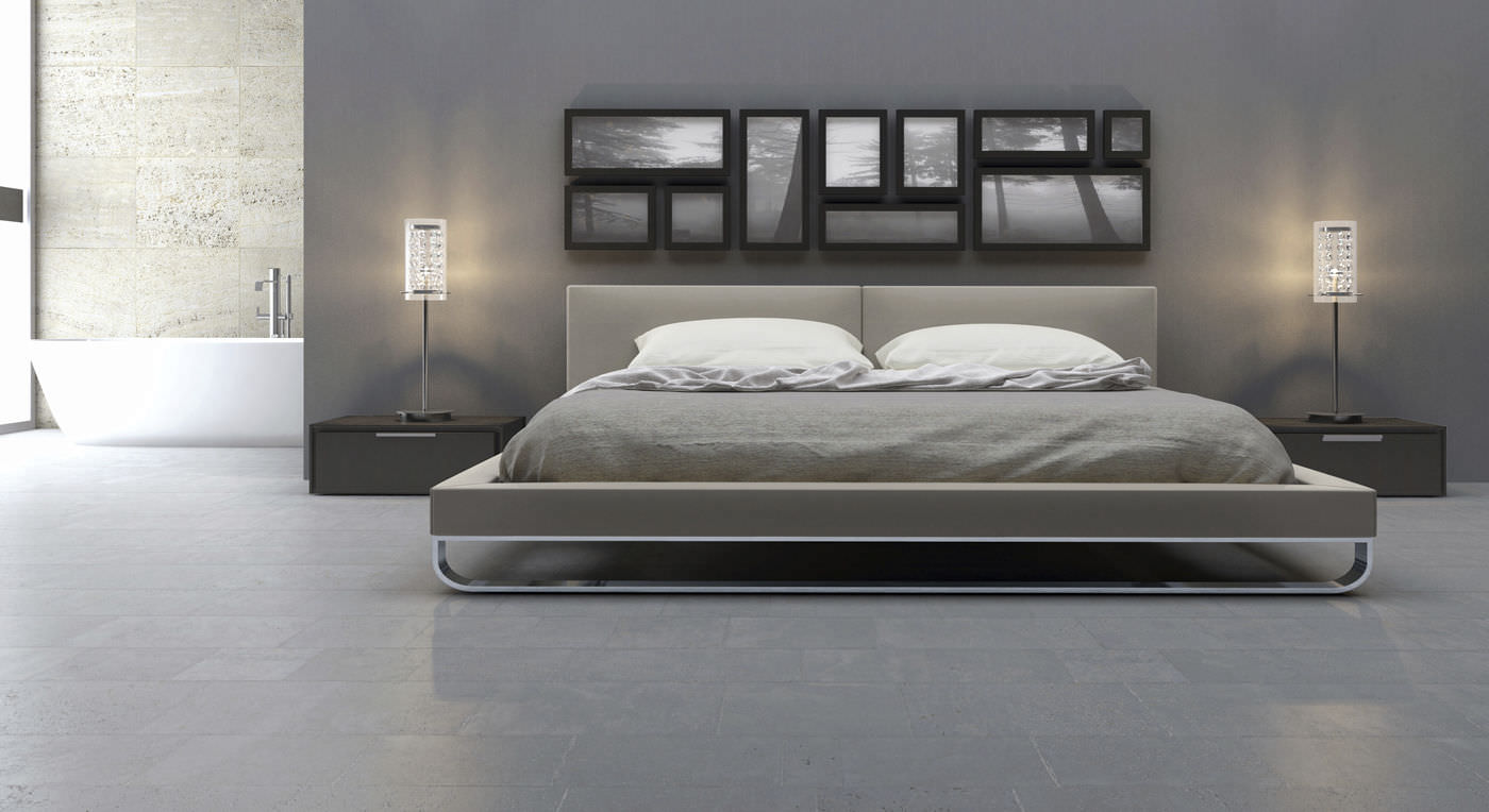 double bed contemporary leather with upholstered headboard chelsea king modloft