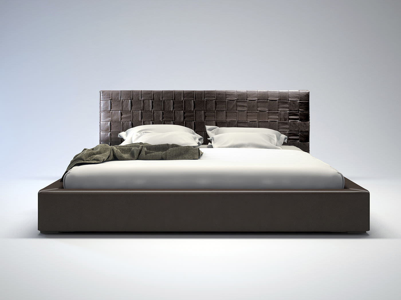 Bed headboard leather -  Double Bed Contemporary Leather With Upholstered Headboard Madison Cal King Modloft