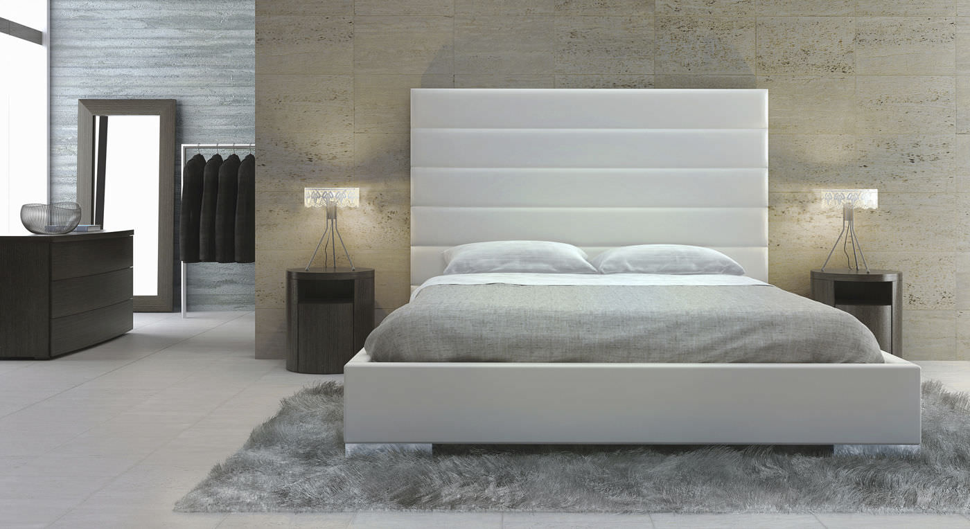 Bed headboard leather -  Double Bed Contemporary Leather With Upholstered Headboard Prince Queen Modloft