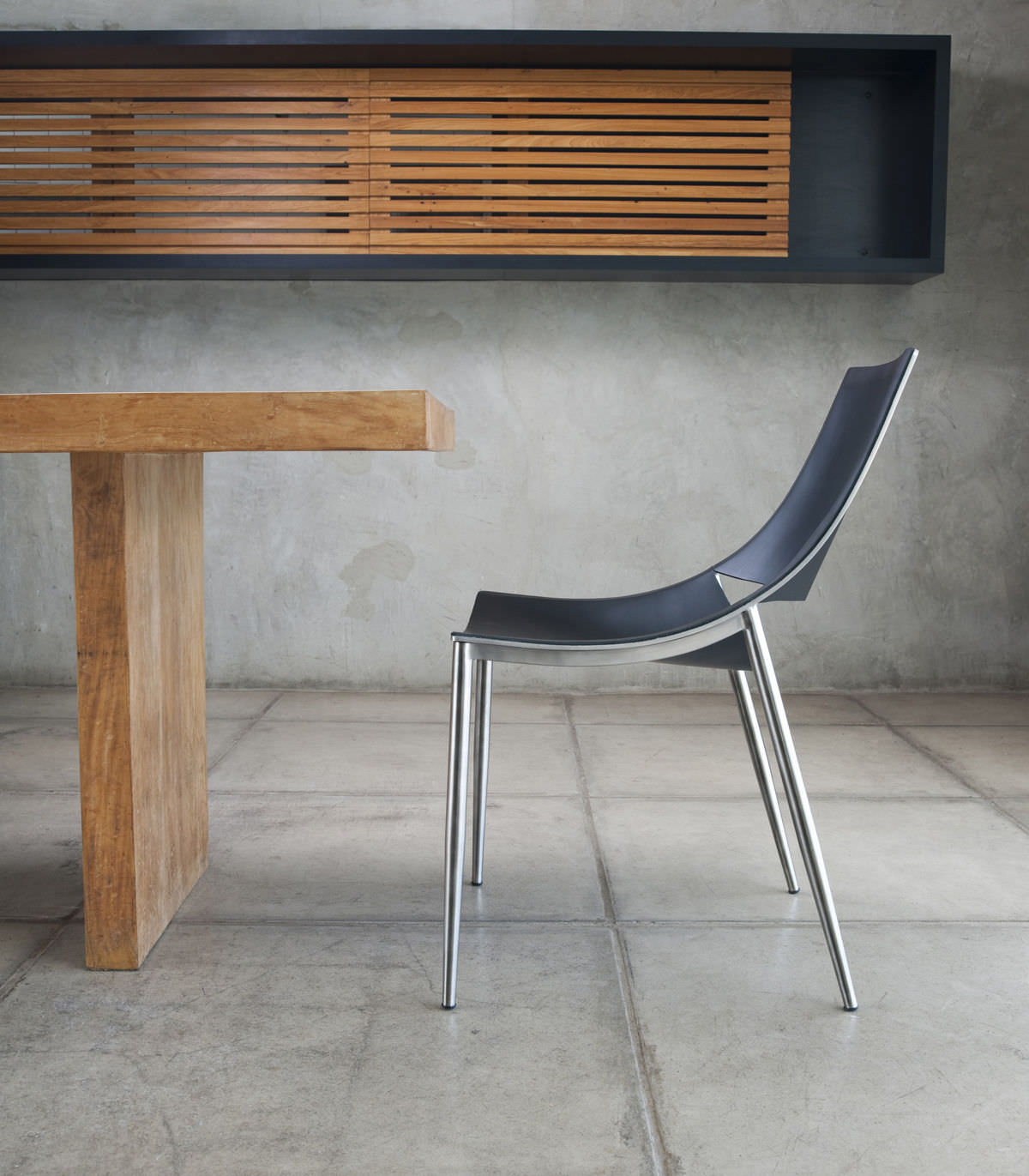 Contemporary Dining Chair Metal Leather Sloane Modloft