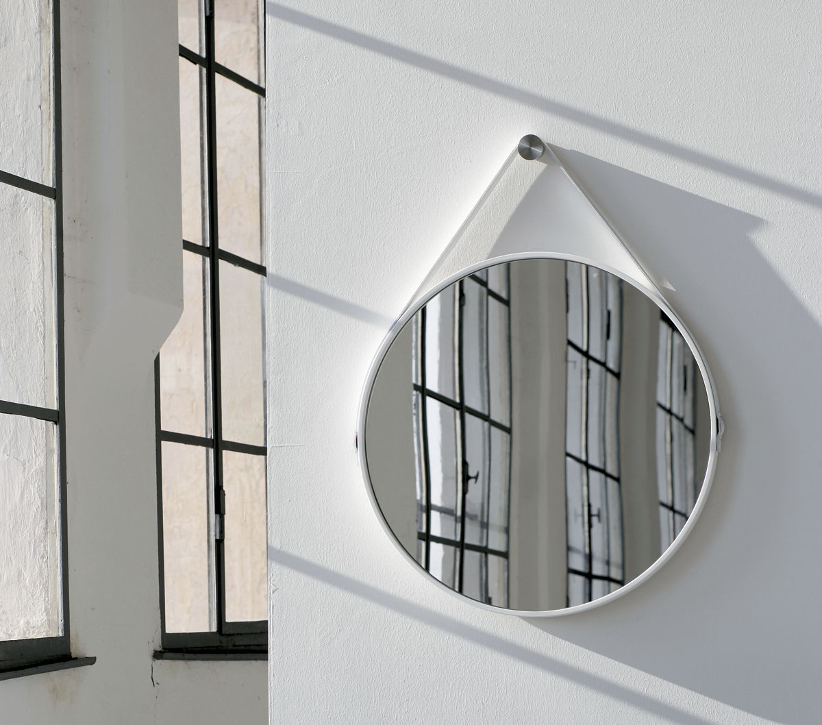 Wall mounted mirror contemporary round leather george 24in wall mounted mirror contemporary round leather george 24in george 36in amipublicfo Gallery