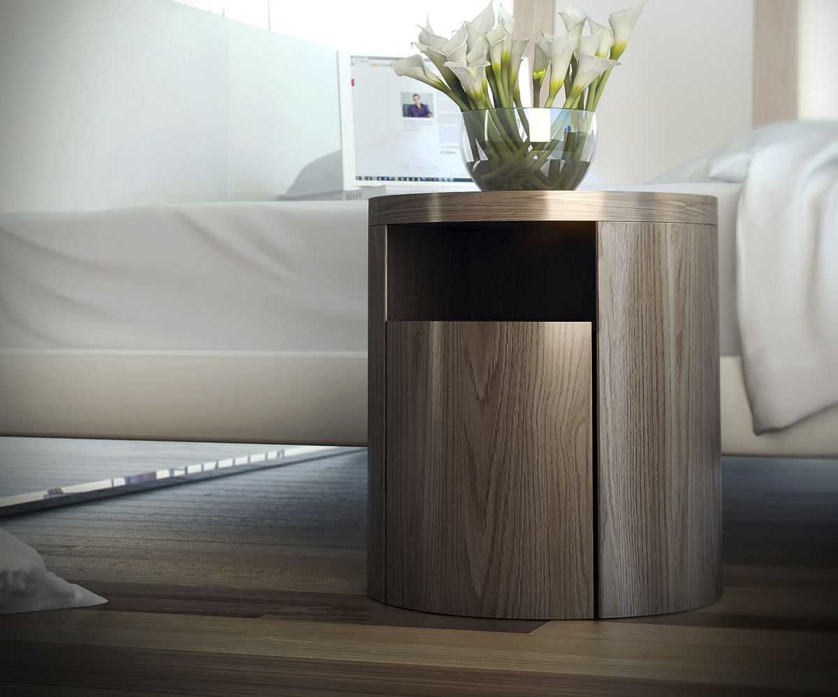 Contemporary bedside table wooden round mulberry modloft contemporary bedside table wooden round watchthetrailerfo
