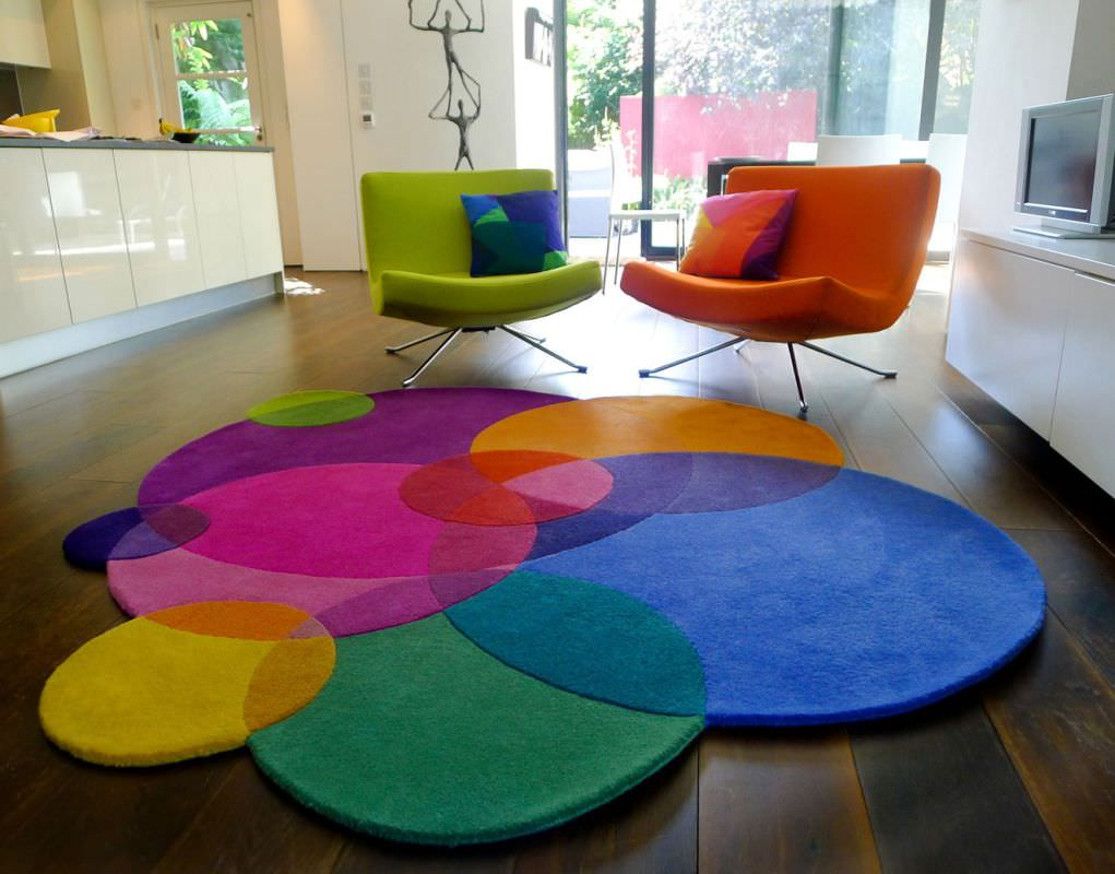 contemporary rug  patterned  new zealand wool  round  bubbles  -  contemporary rug  patterned  new zealand wool  round bubbles sonyawinner