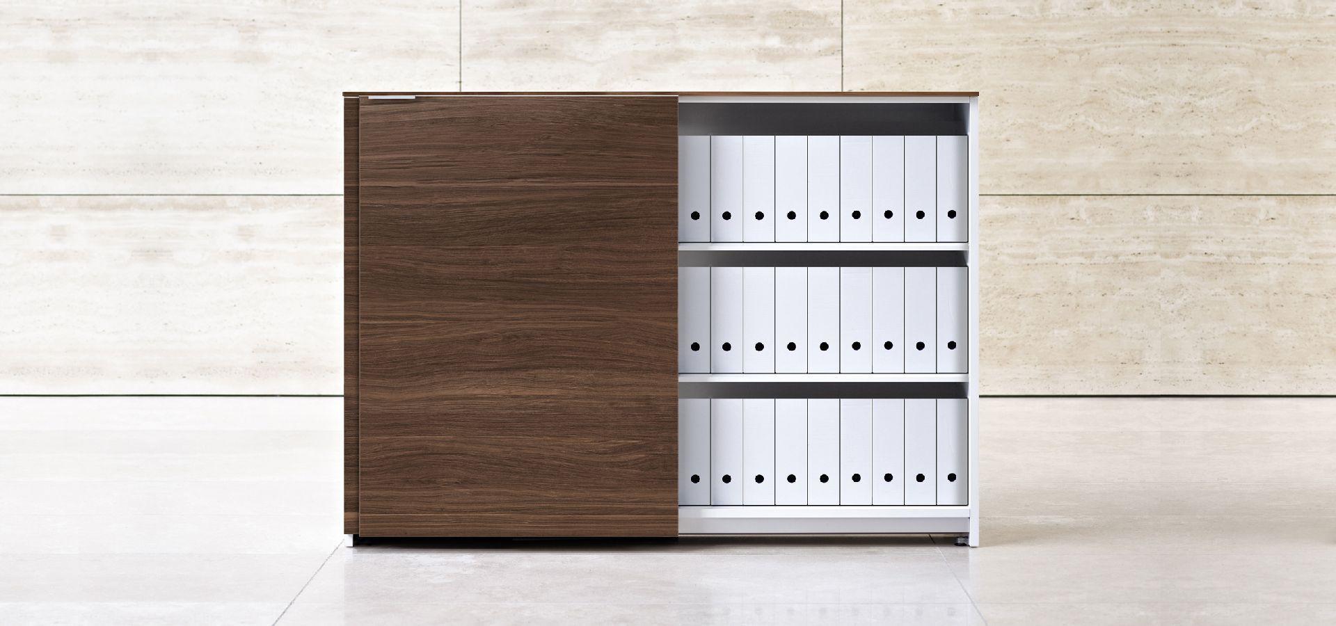 ... Low Filing Cabinet / Tall / Wood Veneer / With Sliding Door ...