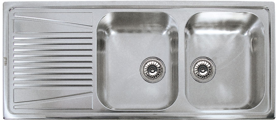 Stainless Steel Kitchen Sinks With Drainboards double kitchen sink / stainless steel / with drainboard - river