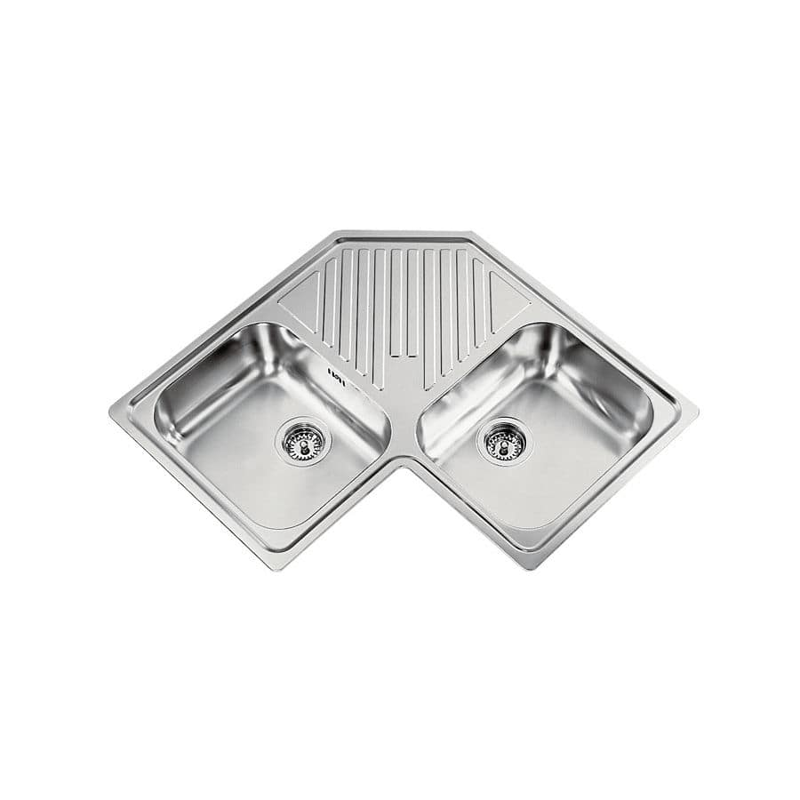 Stainless Steel Kitchen Sinks With Drainboards double kitchen sink / stainless steel / corner / with drainboard