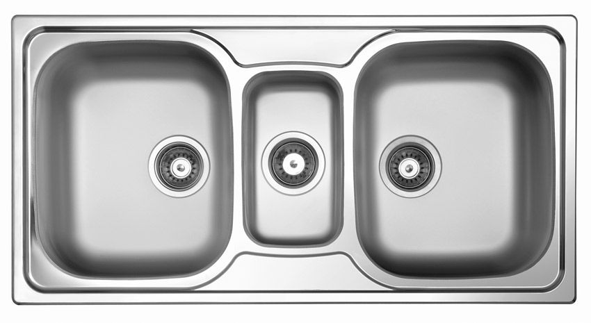 3 bowl kitchen sink stainless steel sky 550 - Bowl Kitchen Sink