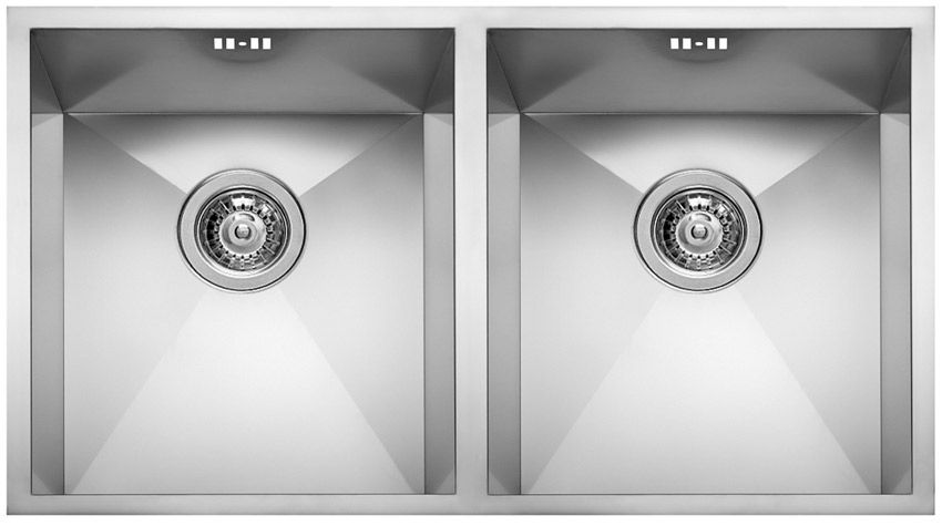 Double kitchen sink / stainless steel - SQUARE 720 2V - ELLECI