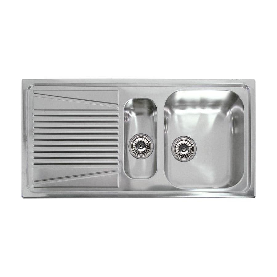 Double kitchen sink / stainless steel / with drainboard - RIVER 475 ...