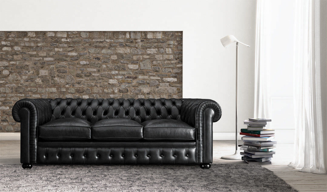 Chesterfield Sofa / Leather / 3-seater / Black