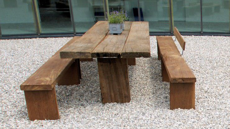 Contemporary Table And Chair Set Steel Wooden Garden Thors