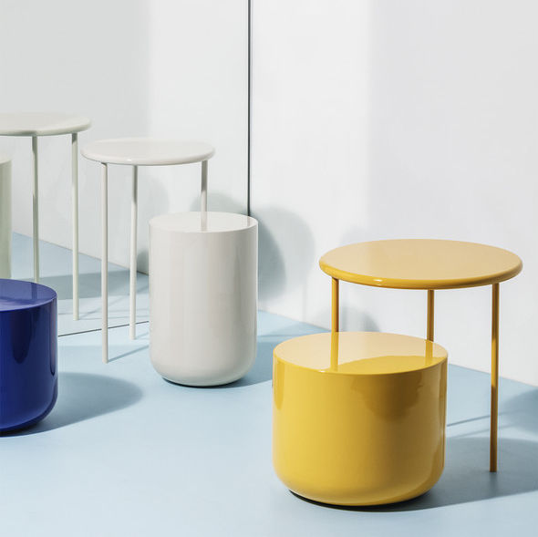 Contemporary Side Table / Ceramic / Round / White   THE PAIR By Studio  David Thulstrup