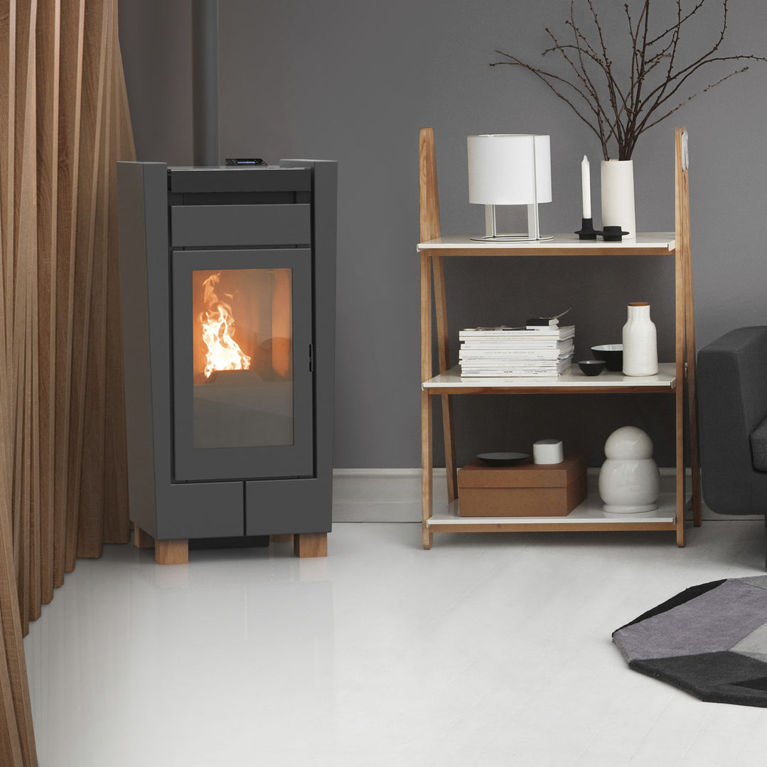 pellet heating stove contemporary metal mood thermorossi