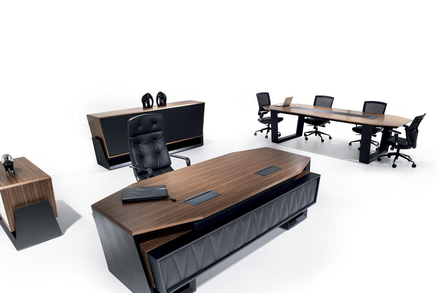 Executive Desk Wooden Leather Contemporary Toronto Solenne Office Furniture