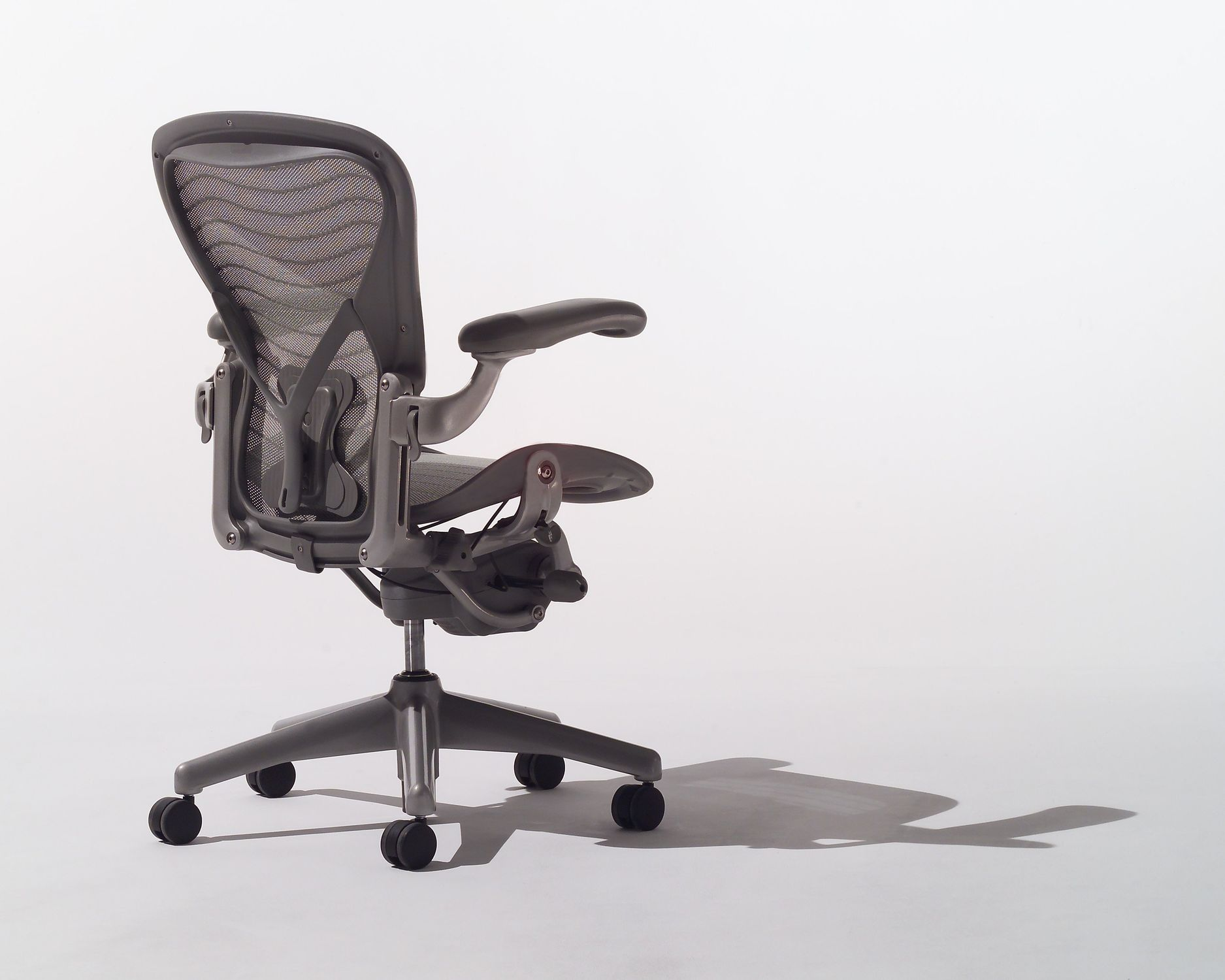 Contemporary office armchair mesh metal on casters AERON