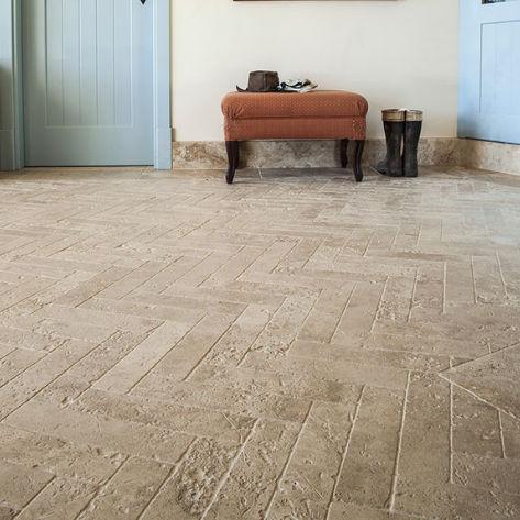 Indoor Tile Floor Natural Stone Rectangular Beige Travertine