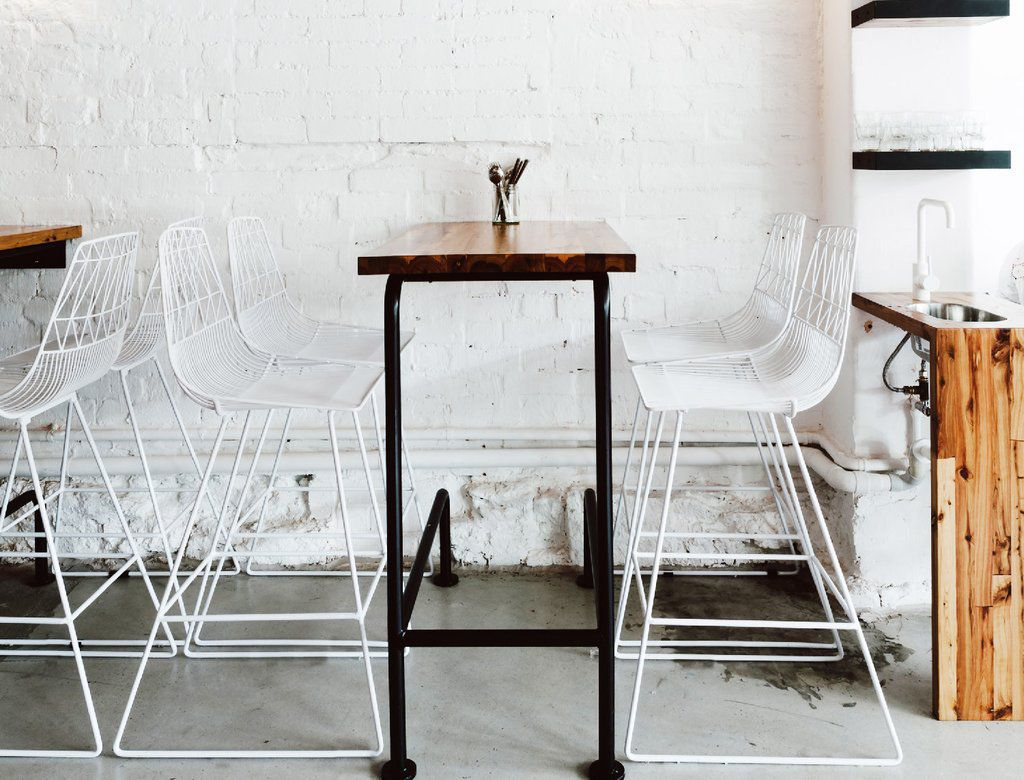 Contemporary bar chair / with removable cushion / sled base / wire ...