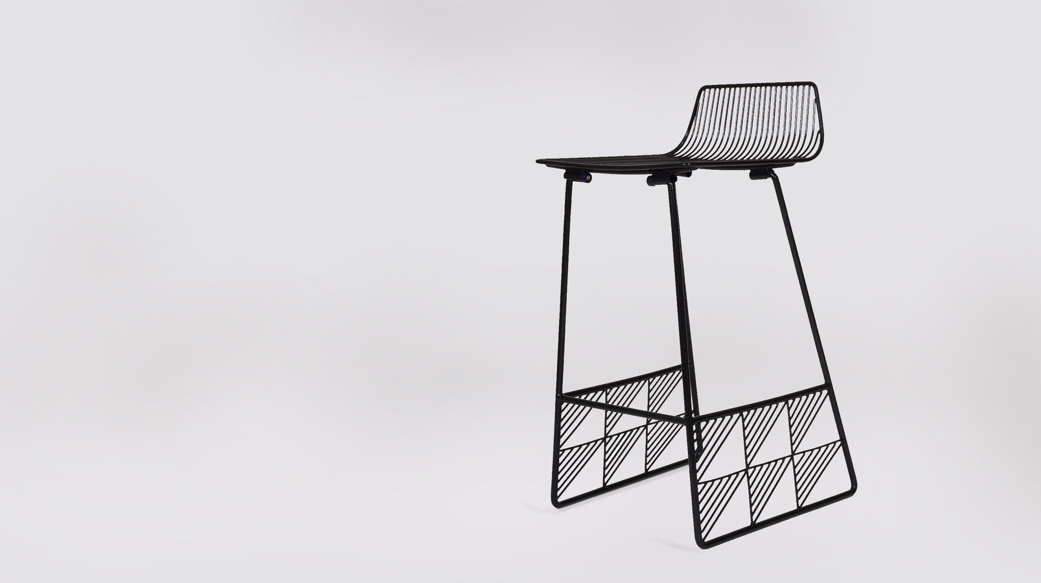 Contemporary Bar Stool Wire Upholstered Sled Base