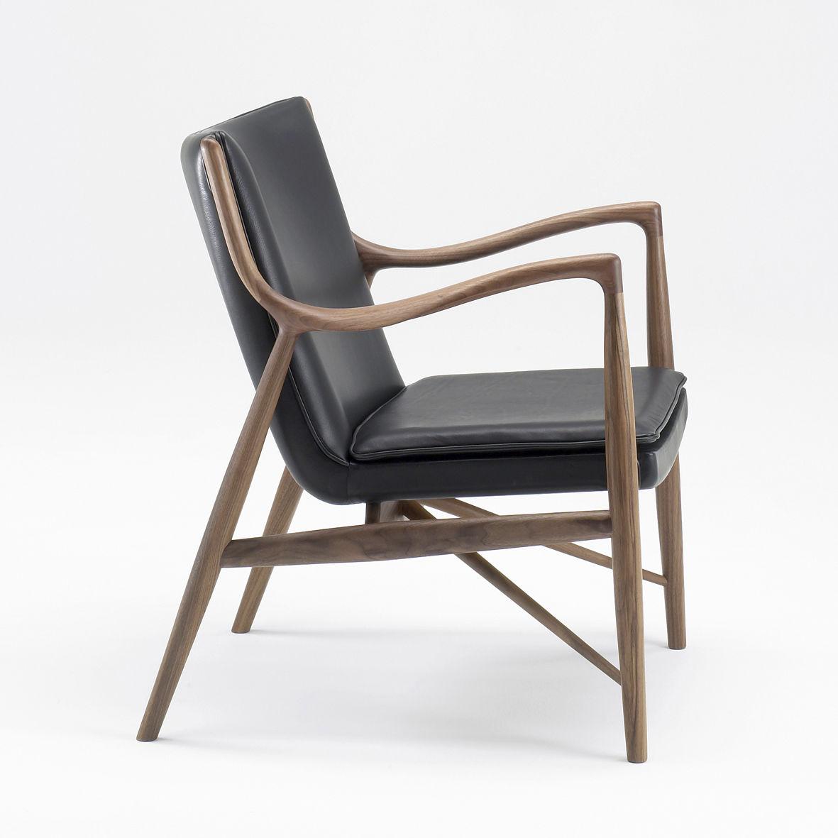 Scandinavian Design Armchair / Wooden / Fabric / Leather   45