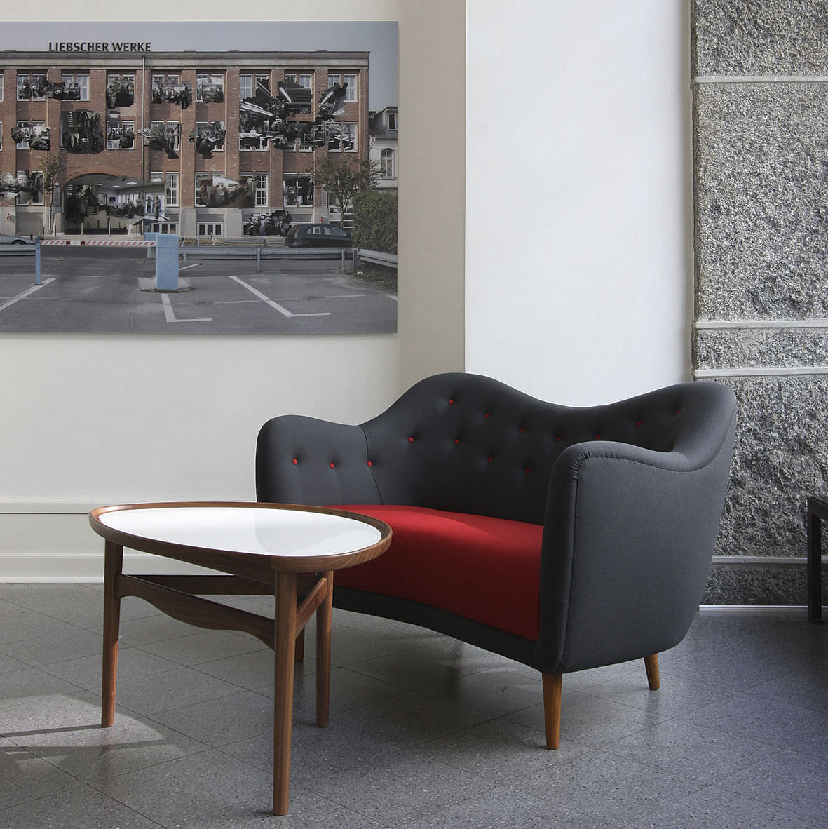 Scandinavian Design Coffee Table Walnut Teak Oval Eye