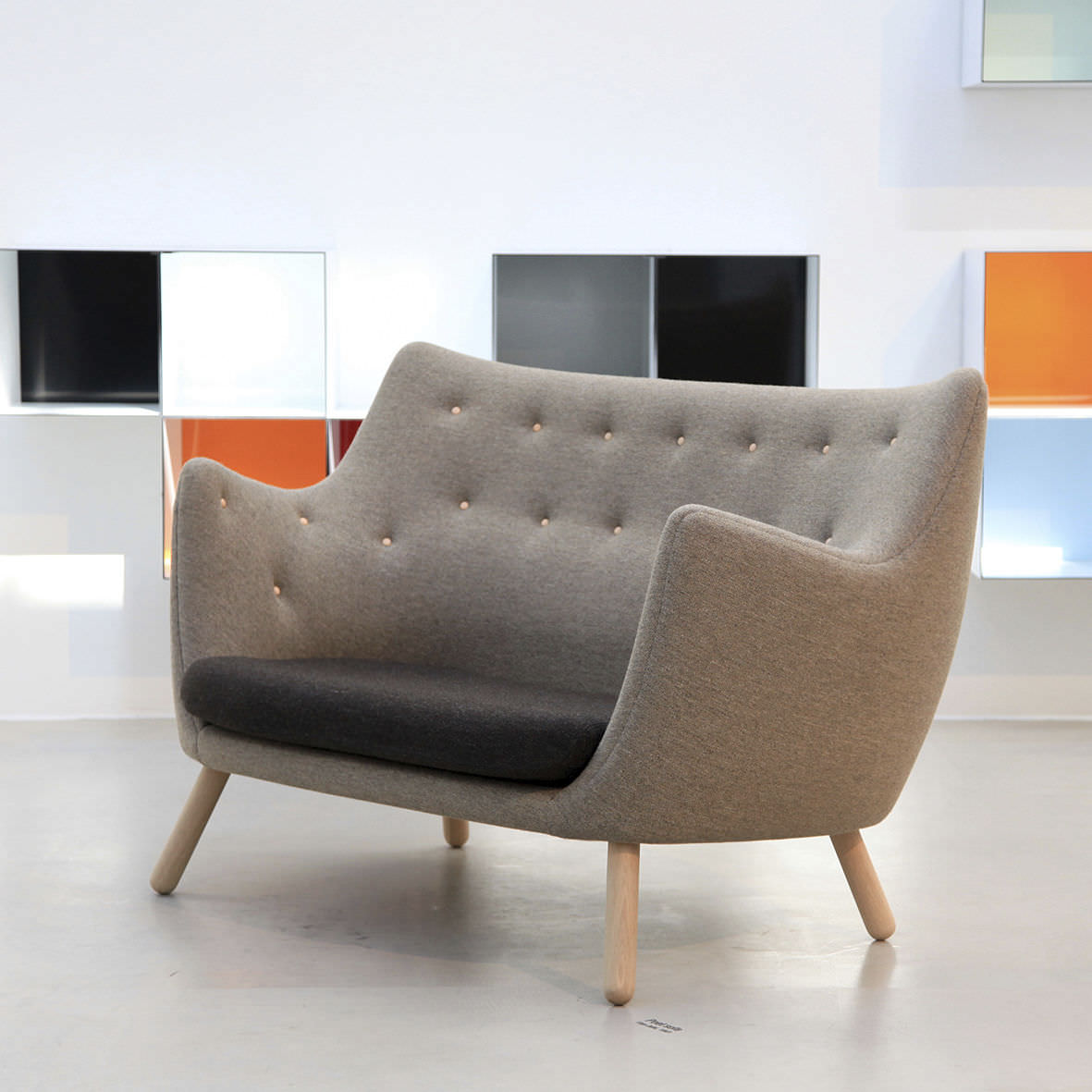 Scandinavian Design Sofa Wood Fabric By Finn Juhl Poet