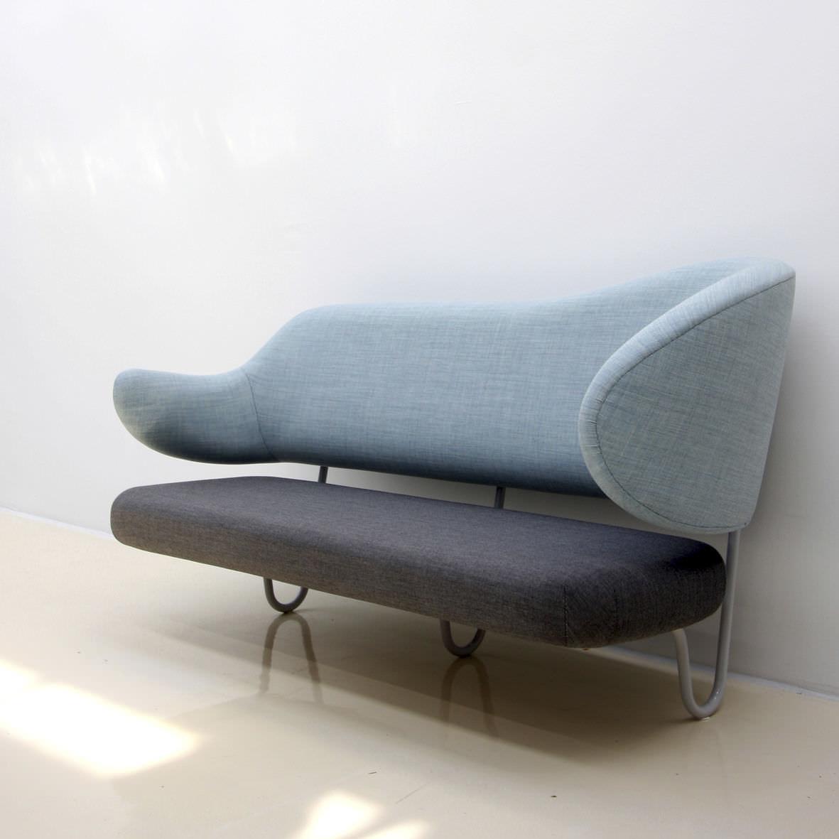 ... Scandinavian Design Sofa / Fabric / Lacquered Steel / By Finn Juhl ...