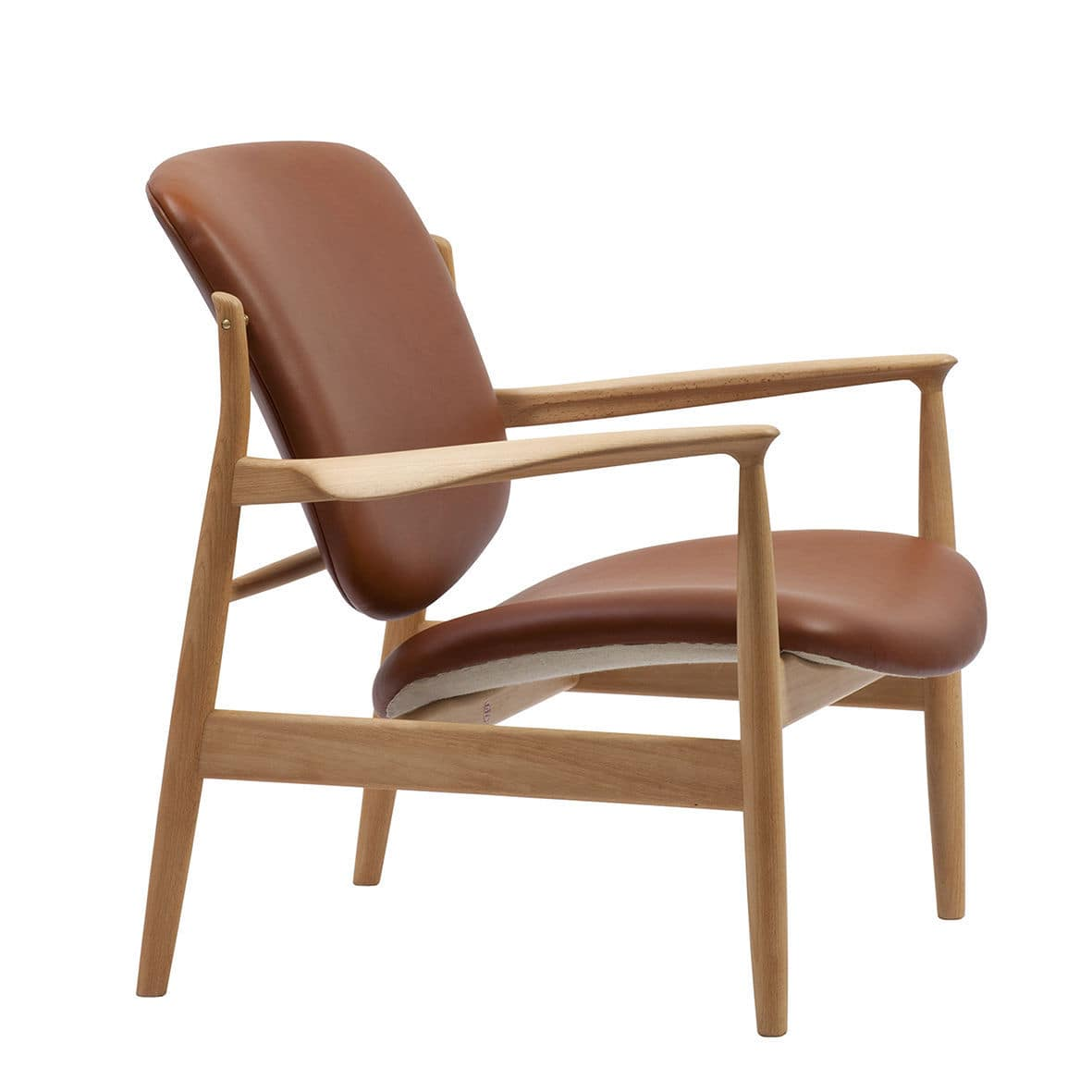 Scandinavian Design Armchair Wooden Fabric Leather France