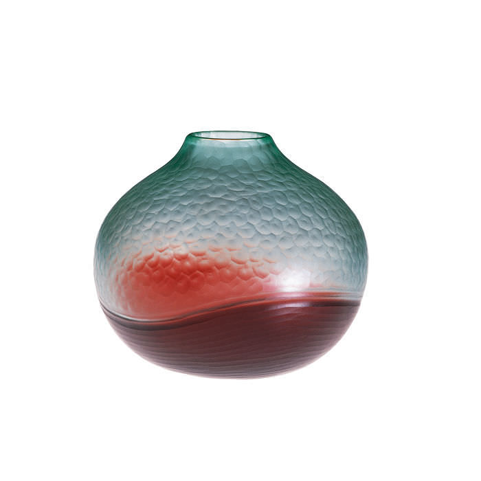 Contemporary Vase Blown Glass Battuto Bicolore By Carlo Scarpa